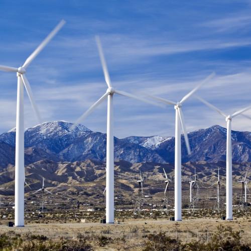 Wind turbines generate power near Palm Springs California